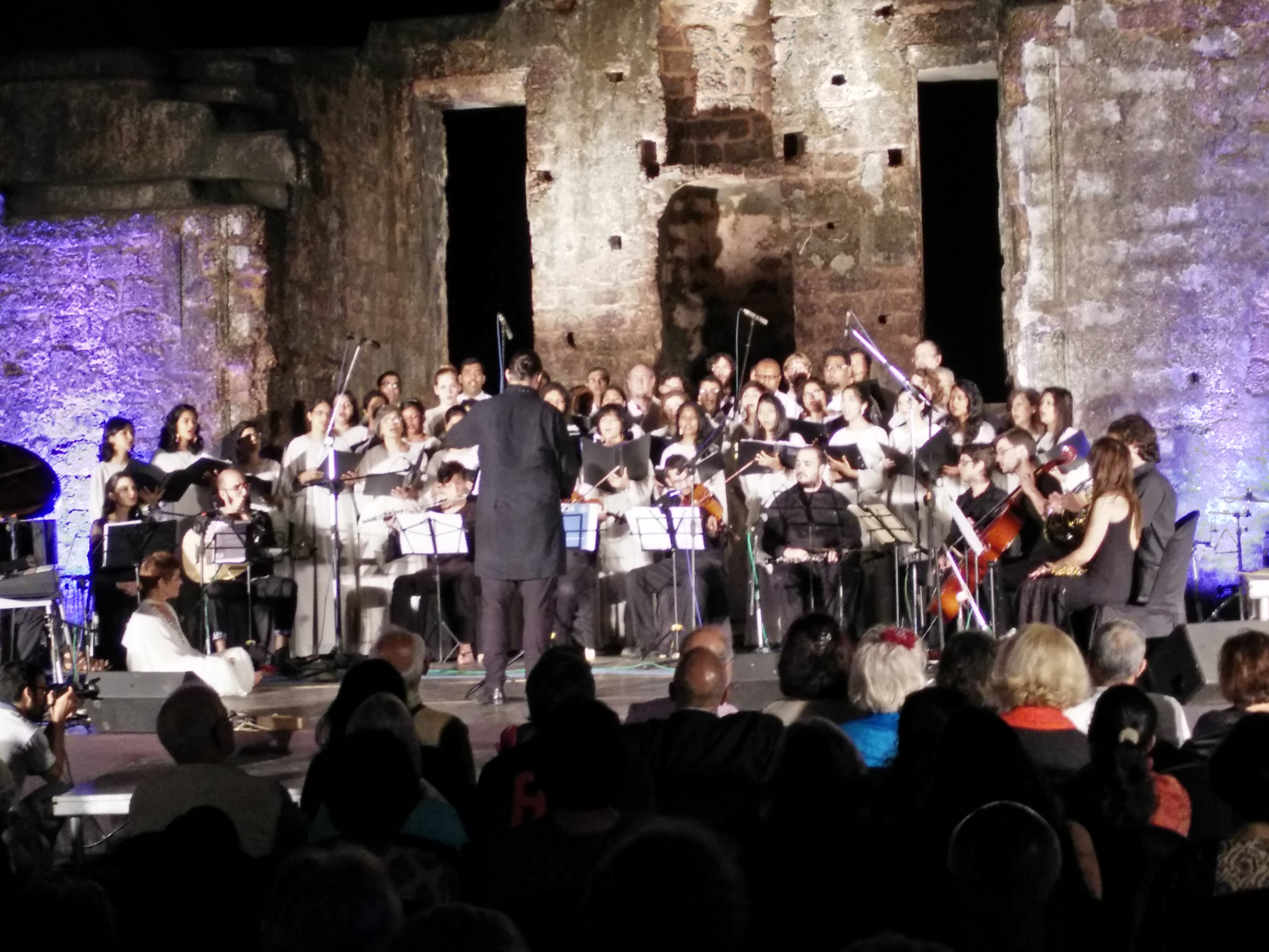 The Goa University and Seville University choirs perform at St Augustine ruins